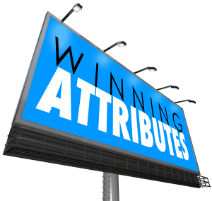 Winning Attributes words on a billboard, sign or banner to illus